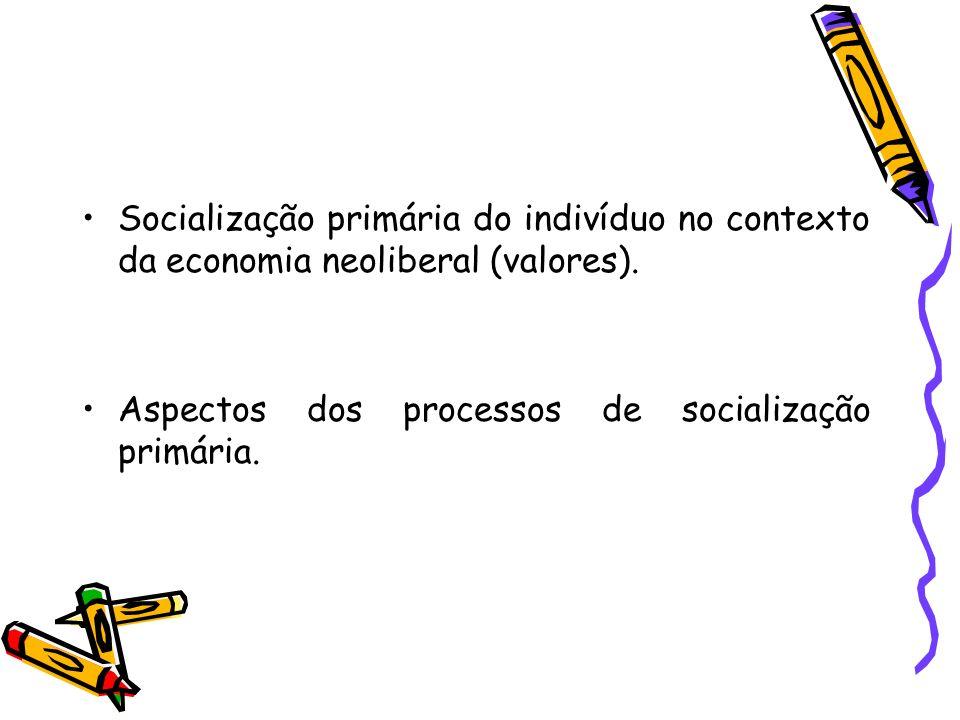 Socialização primária do indivíduo no contexto da economia neoliberal (valores). Aspectos dos processos de socialização primária.