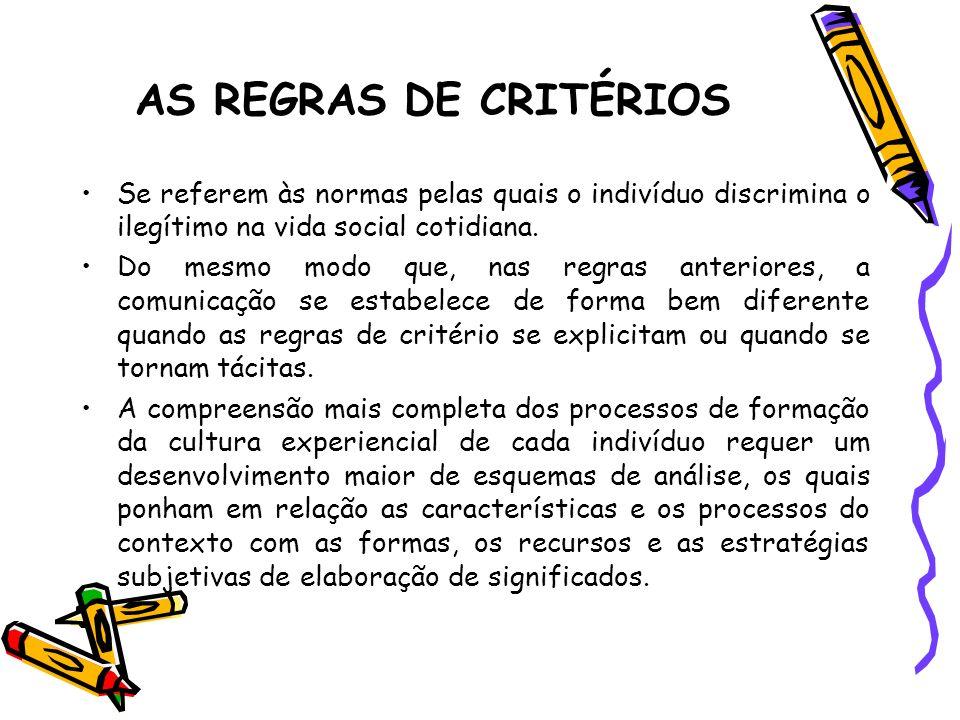 AS REGRAS DE CRITÉRIOS Se referem às normas pelas quais o indivíduo discrimina o ilegítimo na vida social cotidiana. Do mesmo modo que, nas regras ant