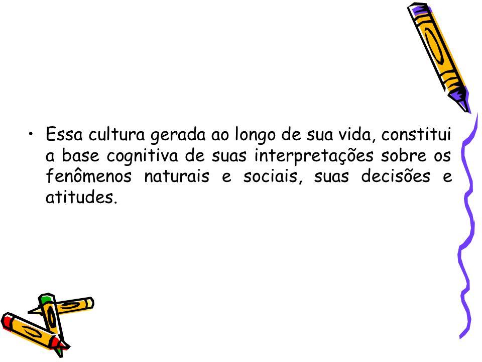 Essa cultura gerada ao longo de sua vida, constitui a base cognitiva de suas interpretações sobre os fenômenos naturais e sociais, suas decisões e ati