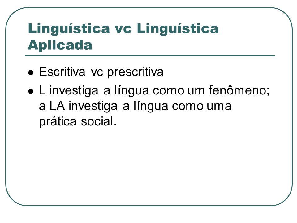 Linguística vc Linguística Aplicada Escritiva vc prescritiva L investiga a língua como um fenômeno; a LA investiga a língua como uma prática social.