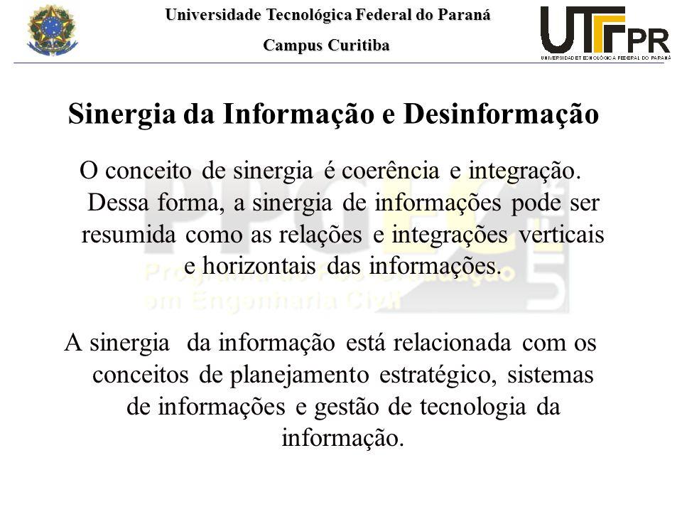 Universidade Tecnológica Federal do Paraná Universidade Tecnológica Federal do Paraná Campus Curitiba Campus Curitiba Sinergia da Informação e Desinformação O conceito de sinergia é coerência e integração.