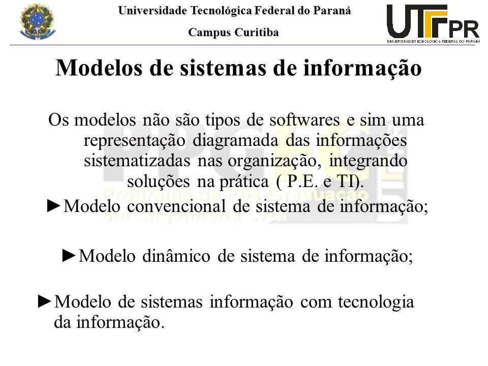 Universidade Tecnológica Federal do Paraná Universidade Tecnológica Federal do Paraná Campus Curitiba Campus Curitiba Modelos de sistemas de informação Os modelos não são tipos de softwares e sim uma representação diagramada das informações sistematizadas nas organização, integrando soluções na prática ( P.E.