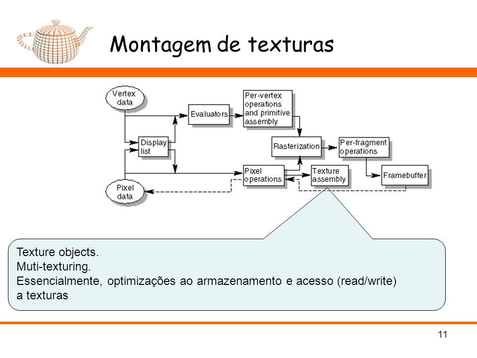 Montagem de texturas 11 Texture objects. Muti-texturing. Essencialmente, optimizações ao armazenamento e acesso (read/write) a texturas