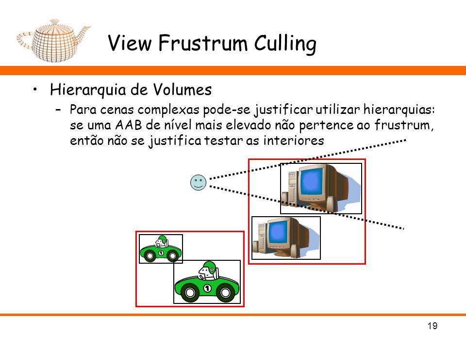 View Frustrum Culling Hierarquia de Volumes –Para cenas complexas pode-se justificar utilizar hierarquias: se uma AAB de nível mais elevado não perten