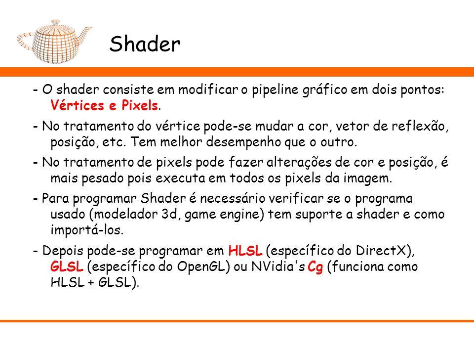 Shader - O shader consiste em modificar o pipeline gráfico em dois pontos: Vértices e Pixels. - No tratamento do vértice pode-se mudar a cor, vetor de
