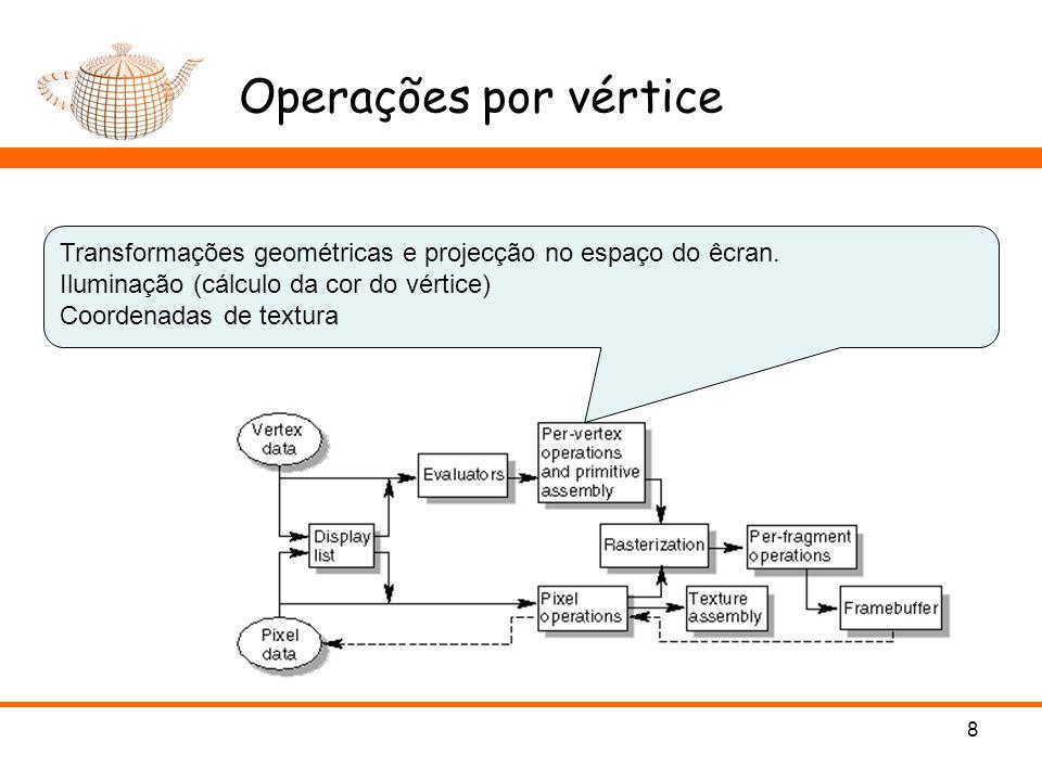 Operações por vértice 8 Transformações geométricas e projecção no espaço do êcran. Iluminação (cálculo da cor do vértice) Coordenadas de textura