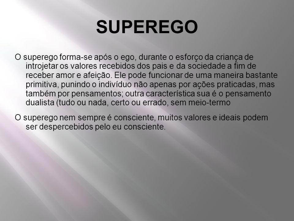 SUPEREGO O superego forma-se após o ego, durante o esforço da criança de introjetar os valores recebidos dos pais e da sociedade a fim de receber amor