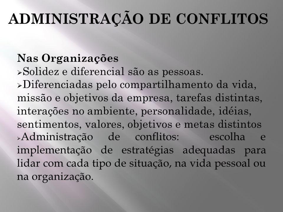 ADMINISTRAÇÃO DE CONFLITOS Nas Organizações Solidez e diferencial são as pessoas. Diferenciadas pelo compartilhamento da vida, missão e objetivos da e