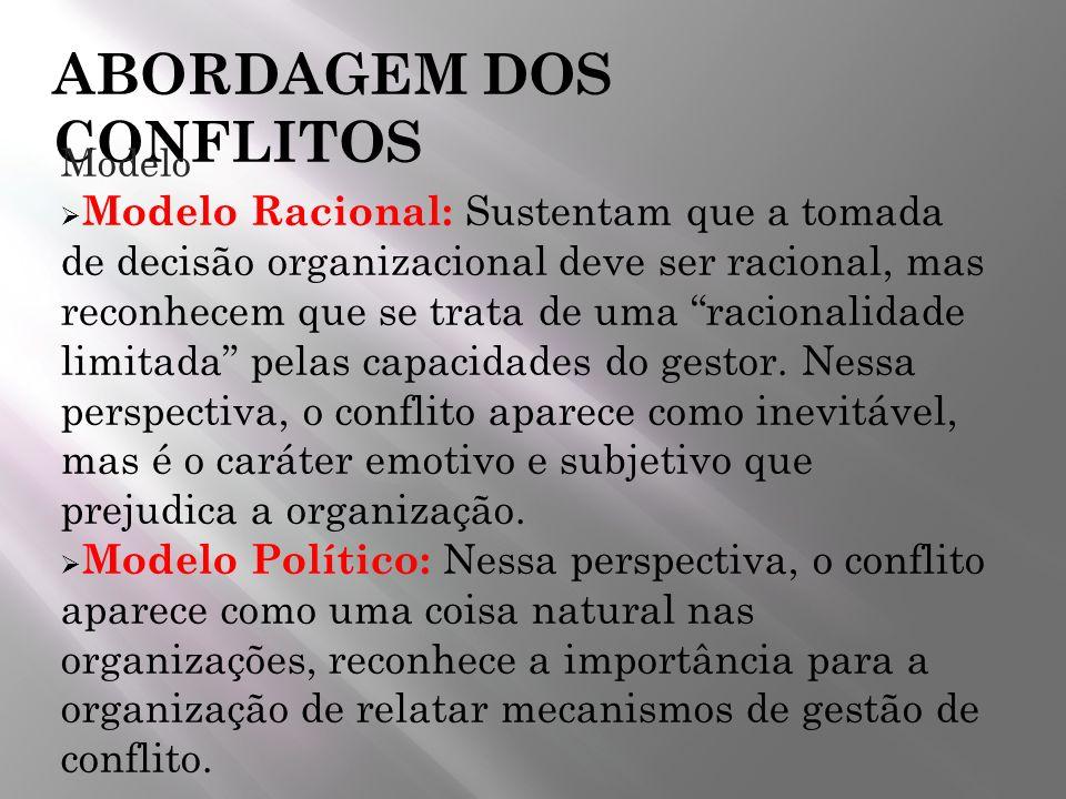ABORDAGEM DOS CONFLITOS Modelo Modelo Racional: Sustentam que a tomada de decisão organizacional deve ser racional, mas reconhecem que se trata de uma
