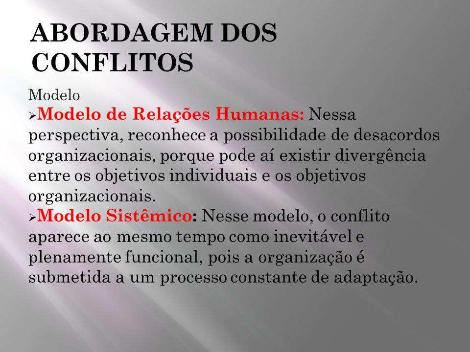 ABORDAGEM DOS CONFLITOS Modelo Modelo de Relações Humanas: Nessa perspectiva, reconhece a possibilidade de desacordos organizacionais, porque pode aí