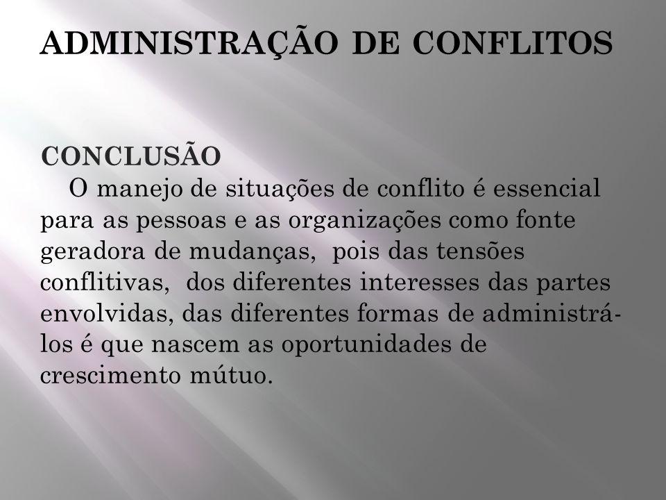 ADMINISTRAÇÃO DE CONFLITOS CONCLUSÃO O manejo de situações de conflito é essencial para as pessoas e as organizações como fonte geradora de mudanças,