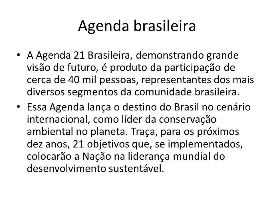 Agenda brasileira A Agenda 21 Brasileira, demonstrando grande visão de futuro, é produto da participação de cerca de 40 mil pessoas, representantes dos mais diversos segmentos da comunidade brasileira.