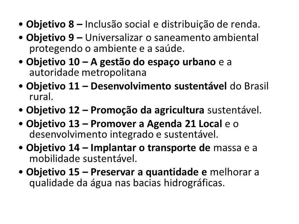 Objetivo 8 – Inclusão social e distribuição de renda. Objetivo 9 – Universalizar o saneamento ambiental protegendo o ambiente e a saúde. Objetivo 10 –