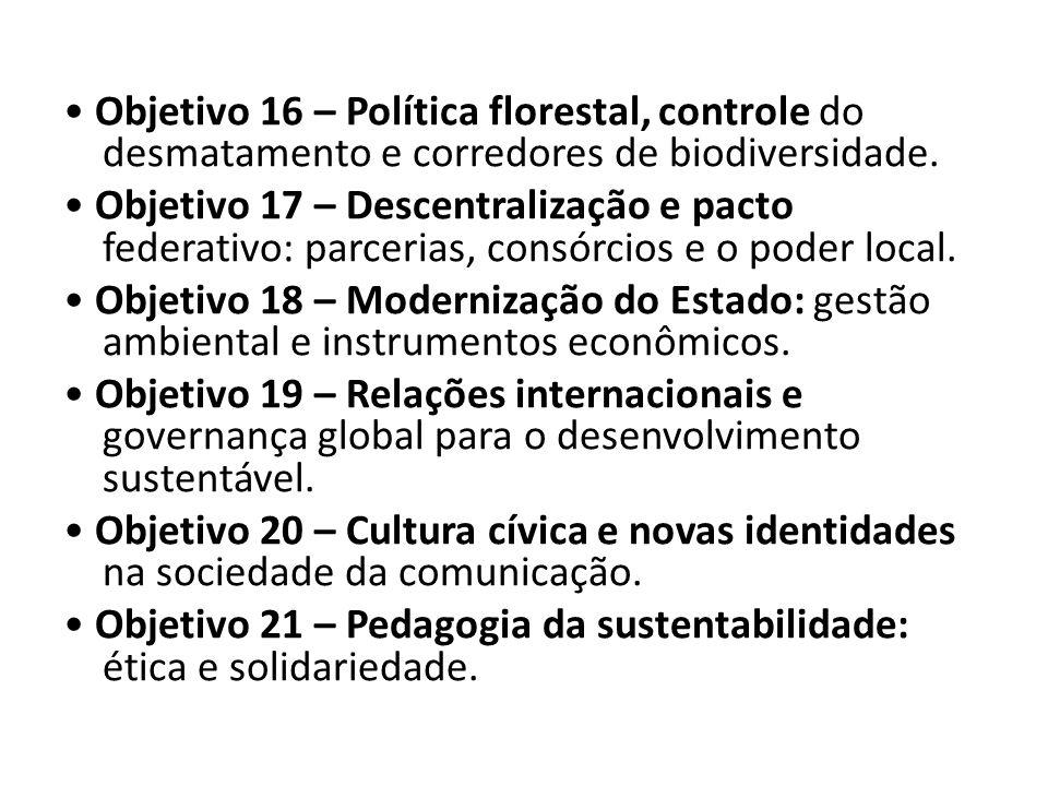 Objetivo 16 – Política florestal, controle do desmatamento e corredores de biodiversidade. Objetivo 17 – Descentralização e pacto federativo: parceria