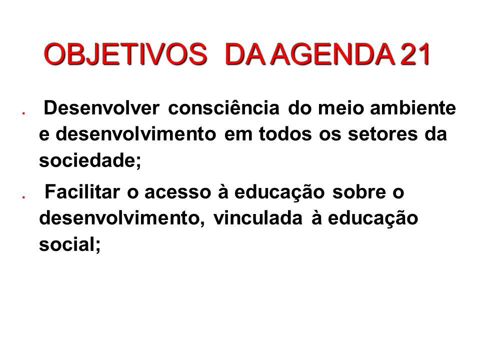 OBJETIVOS DA AGENDA 21.
