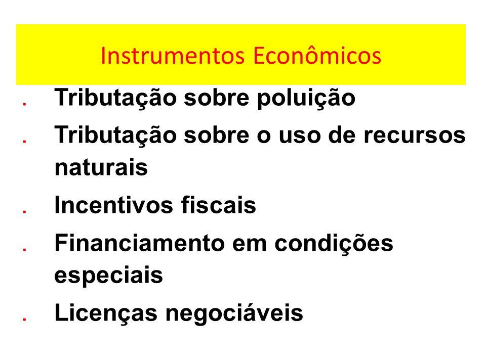Instrumentos Econômicos.Tributação sobre poluição.Tributação sobre o uso de recursos naturais.Incentivos fiscais.Financiamento em condições especiais.Licenças negociáveis