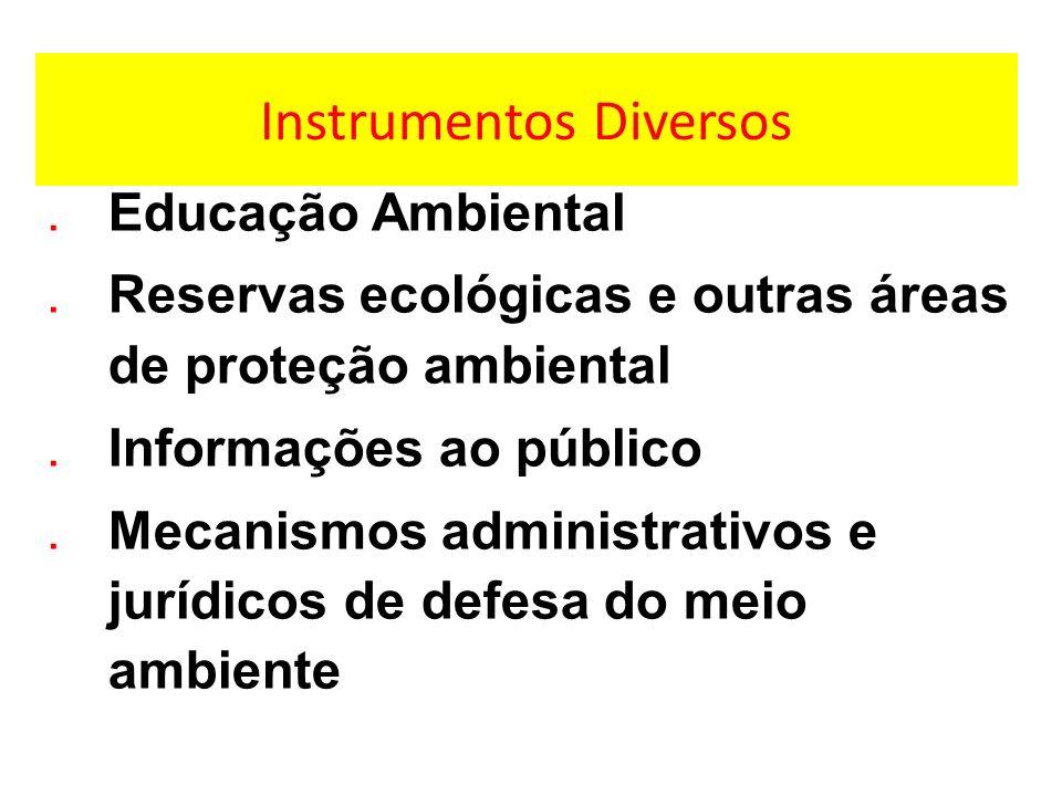 Instrumentos Diversos.Educação Ambiental.Reservas ecológicas e outras áreas de proteção ambiental.Informações ao público.Mecanismos administrativos e jurídicos de defesa do meio ambiente