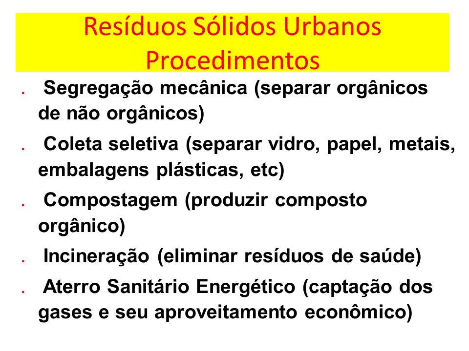 Resíduos Sólidos Urbanos Procedimentos. Segregação mecânica (separar orgânicos de não orgânicos). Coleta seletiva (separar vidro, papel, metais, embal