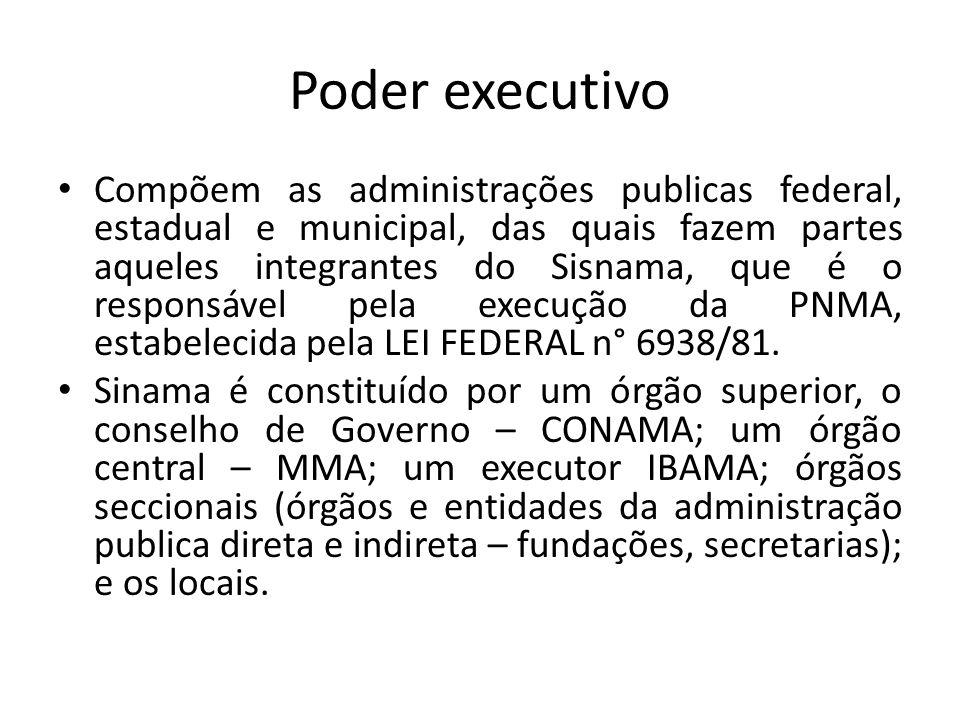 Poder executivo Compõem as administrações publicas federal, estadual e municipal, das quais fazem partes aqueles integrantes do Sisnama, que é o responsável pela execução da PNMA, estabelecida pela LEI FEDERAL n° 6938/81.