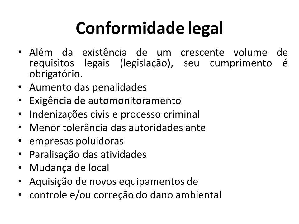 Conformidade legal Além da existência de um crescente volume de requisitos legais (legislação), seu cumprimento é obrigatório.