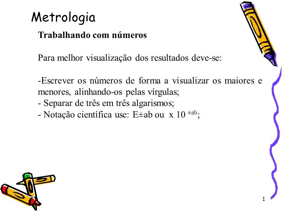 2 Algarismos Significativos A notação científica permite introduzir, com facilidade o significado dos algarismos significativos, assim: 1,852 E +06 ou 1 852 000 (quatro algarismos significativos); 1,852 E -4 ou 0,000 185 2 (quatro a.s); Metrologia