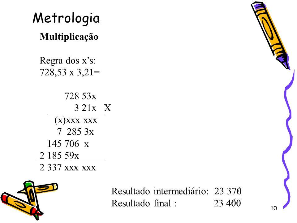 10 Multiplicação Regra dos xs: 728,53 x 3,21= 728 53x 3 21x X (x)xxx xxx 7 285 3x 145 706 x 2 185 59x 2 337 xxx xxx Resultado intermediário: 23 370 Re