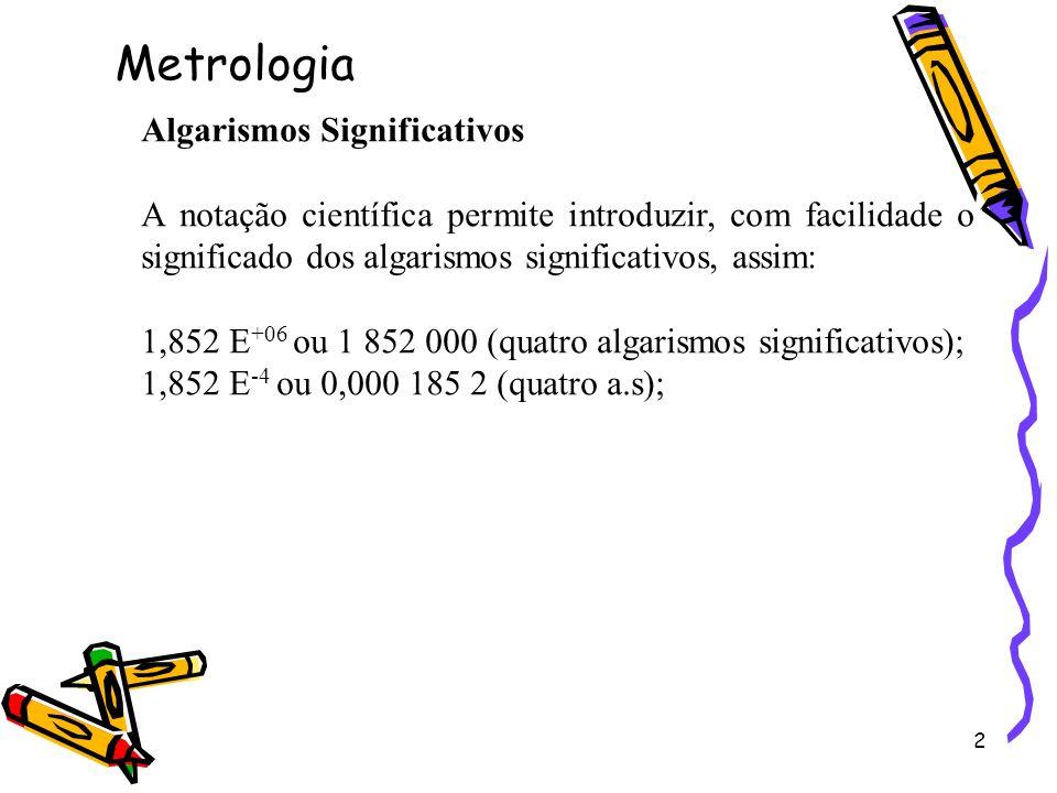 2 Algarismos Significativos A notação científica permite introduzir, com facilidade o significado dos algarismos significativos, assim: 1,852 E +06 ou