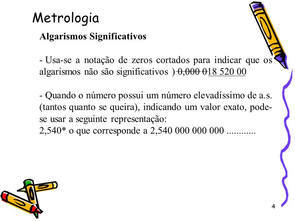 4 Algarismos Significativos - Usa-se a notação de zeros cortados para indicar que os algarismos não são significativos ) 0,000 018 520 00 - Quando o n