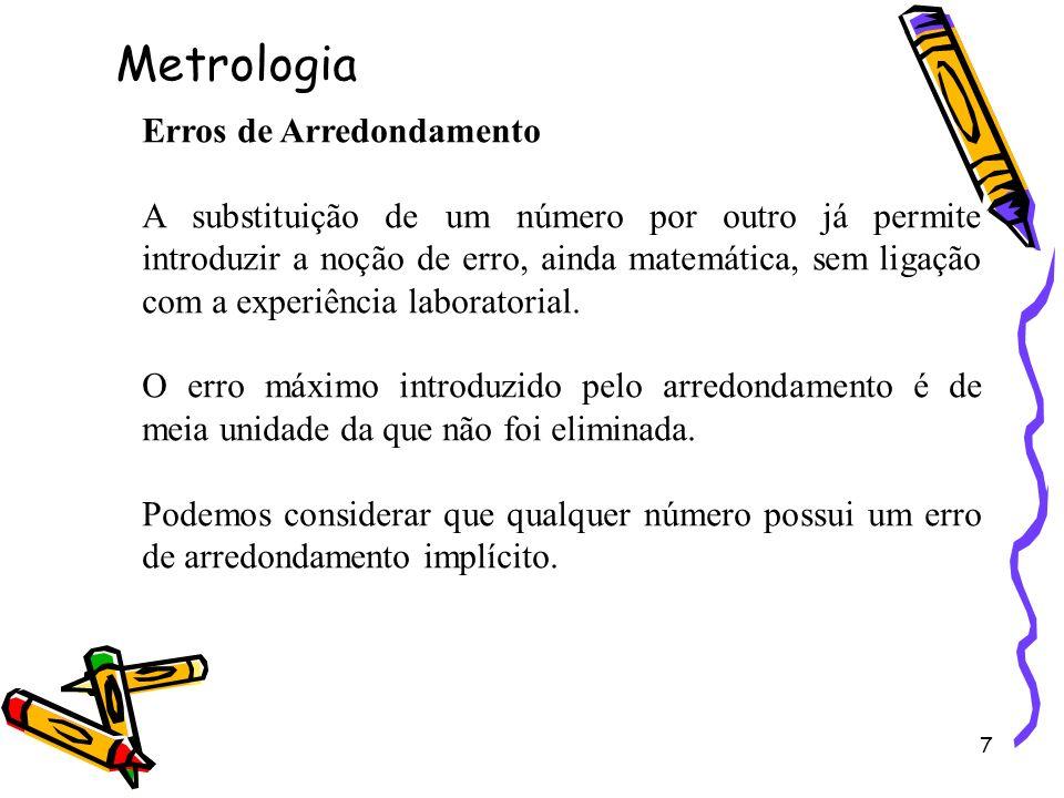 7 Erros de Arredondamento A substituição de um número por outro já permite introduzir a noção de erro, ainda matemática, sem ligação com a experiência