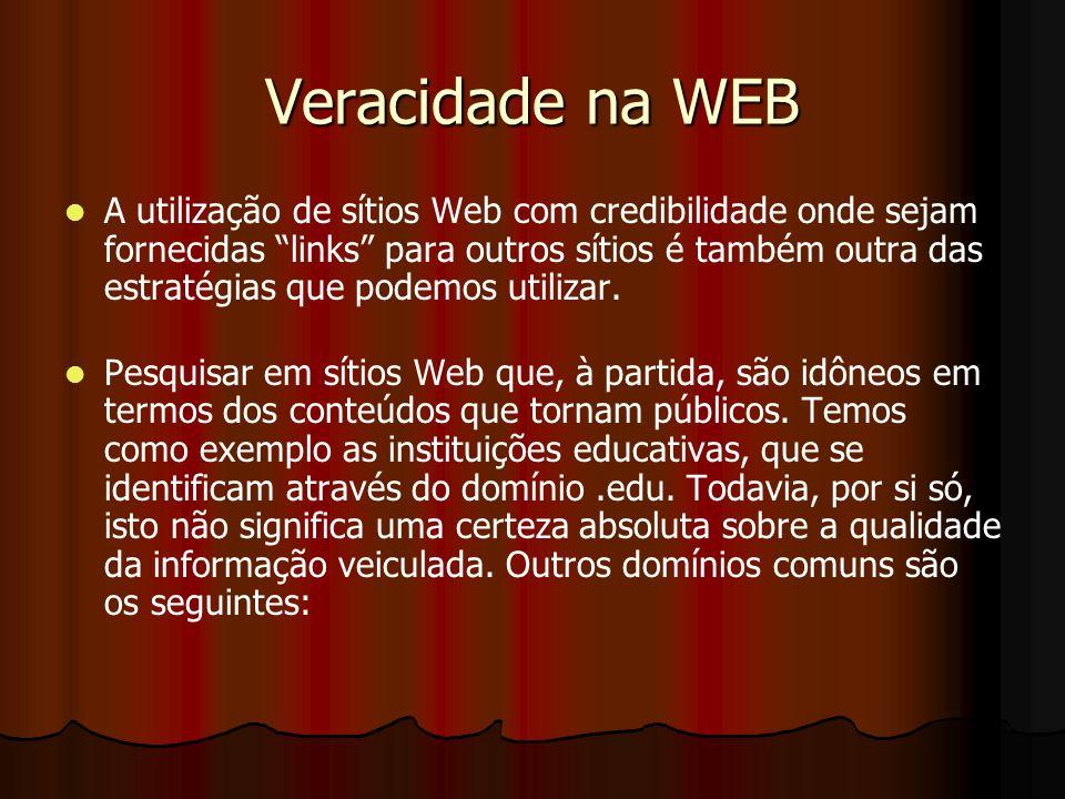 Veracidade na WEB A utilização de sítios Web com credibilidade onde sejam fornecidas links para outros sítios é também outra das estratégias que podem