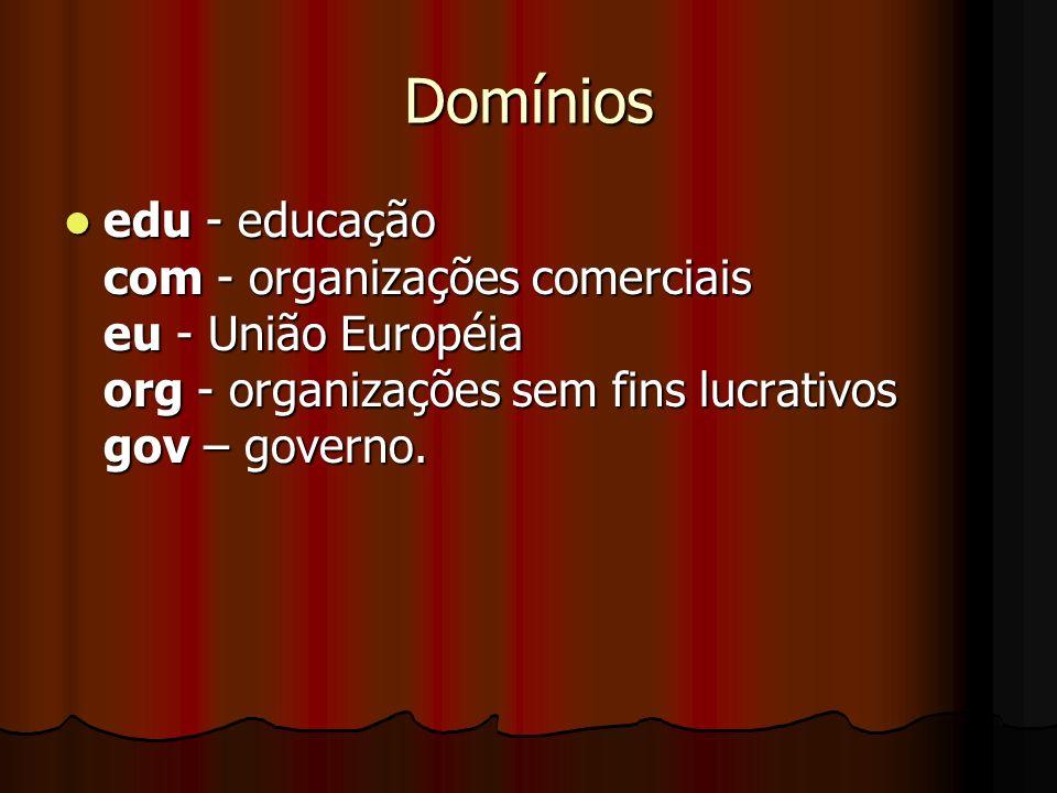 Domínios edu - educação com - organizações comerciais eu - União Européia org - organizações sem fins lucrativos gov – governo. edu - educação com - o