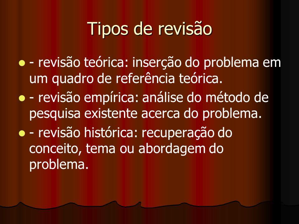Tipos de revisão - revisão teórica: inserção do problema em um quadro de referência teórica. - revisão empírica: análise do método de pesquisa existen