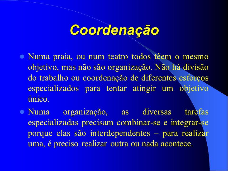 Coordenação Numa praia, ou num teatro todos têem o mesmo objetivo, mas não são organização.