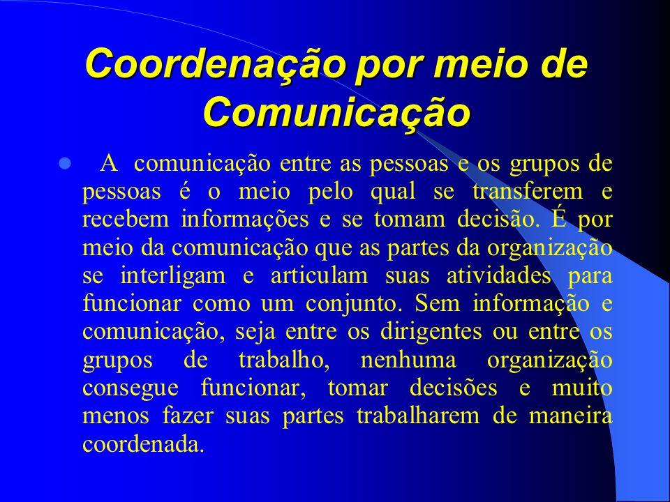 Coordenação por meio de Comunicação A comunicação entre as pessoas e os grupos de pessoas é o meio pelo qual se transferem e recebem informações e se tomam decisão.