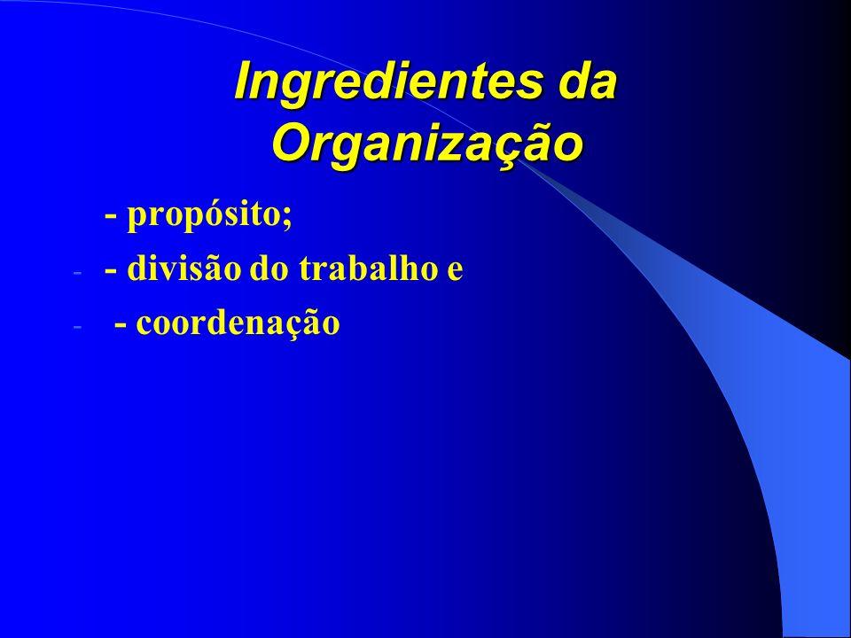 Ingredientes da Organização - propósito; - - divisão do trabalho e - - coordenação