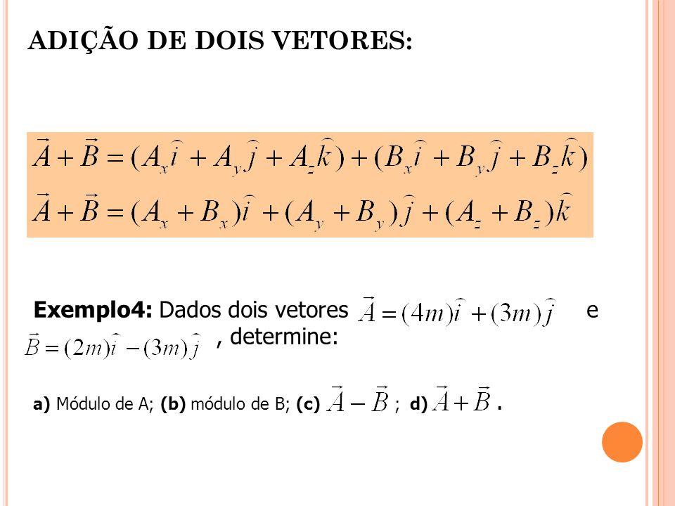 ADIÇÃO DE DOIS VETORES: Exemplo4: Dados dois vetores e, determine: a) Módulo de A; (b) módulo de B; (c) ; d).