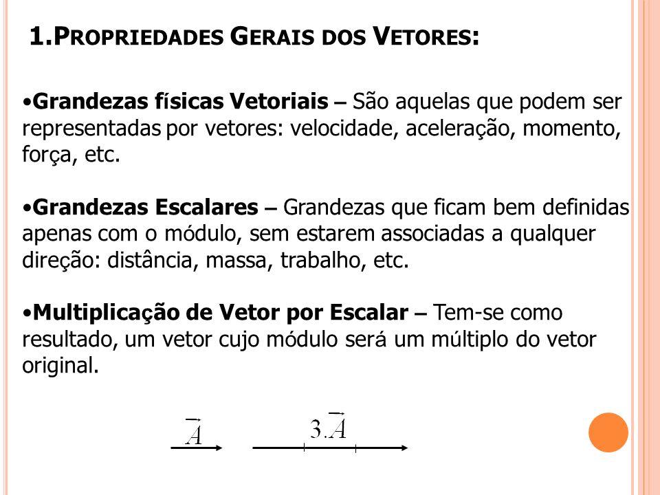 1.P ROPRIEDADES G ERAIS DOS V ETORES : Grandezas f í sicas Vetoriais – São aquelas que podem ser representadas por vetores: velocidade, acelera ç ão, momento, for ç a, etc.