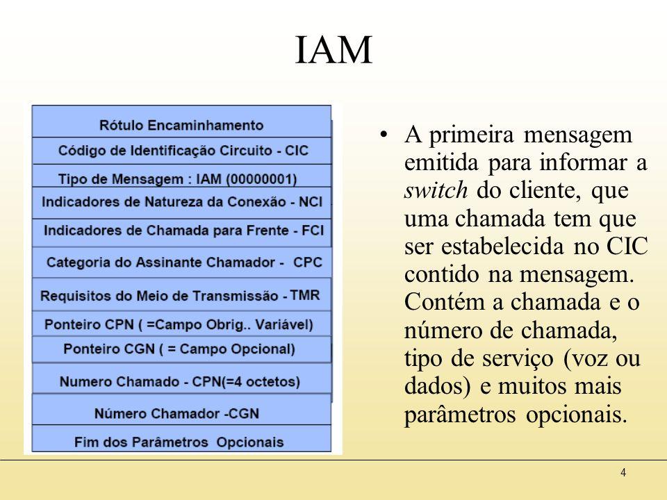4 IAM A primeira mensagem emitida para informar a switch do cliente, que uma chamada tem que ser estabelecida no CIC contido na mensagem.