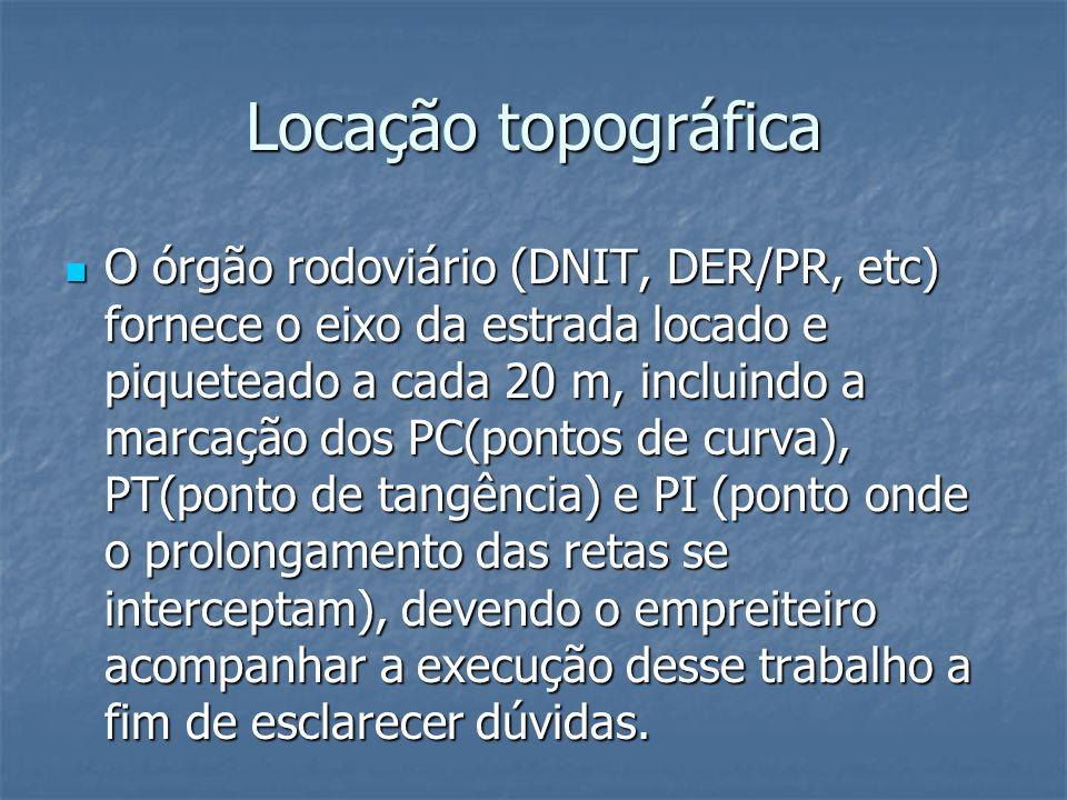 Locação topográfica O órgão rodoviário (DNIT, DER/PR, etc) fornece o eixo da estrada locado e piqueteado a cada 20 m, incluindo a marcação dos PC(pont