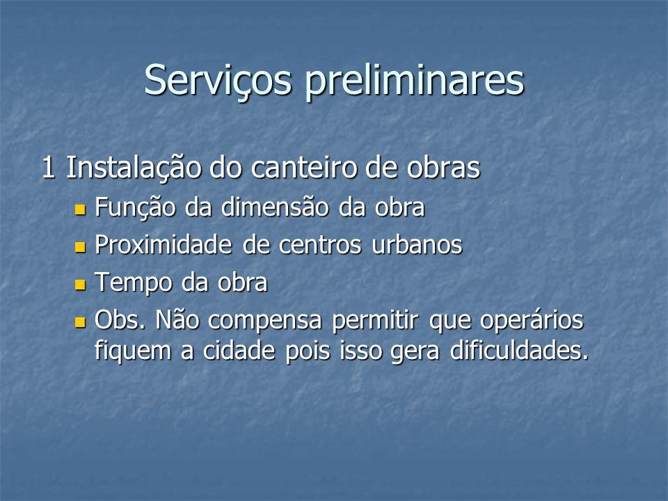 Serviços preliminares 1 Instalação do canteiro de obras Função da dimensão da obra Função da dimensão da obra Proximidade de centros urbanos Proximida