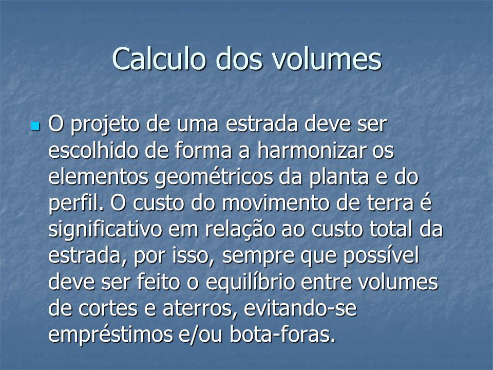 Calculo dos volumes O projeto de uma estrada deve ser escolhido de forma a harmonizar os elementos geométricos da planta e do perfil. O custo do movim