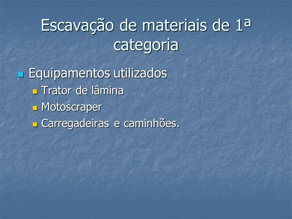 Escavação de materiais de 1ª categoria Equipamentos utilizados Equipamentos utilizados Trator de lâmina Trator de lâmina Motoscraper Motoscraper Carre