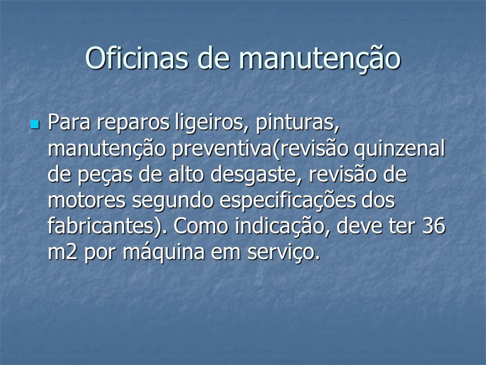 Oficinas de manutenção Para reparos ligeiros, pinturas, manutenção preventiva(revisão quinzenal de peças de alto desgaste, revisão de motores segundo