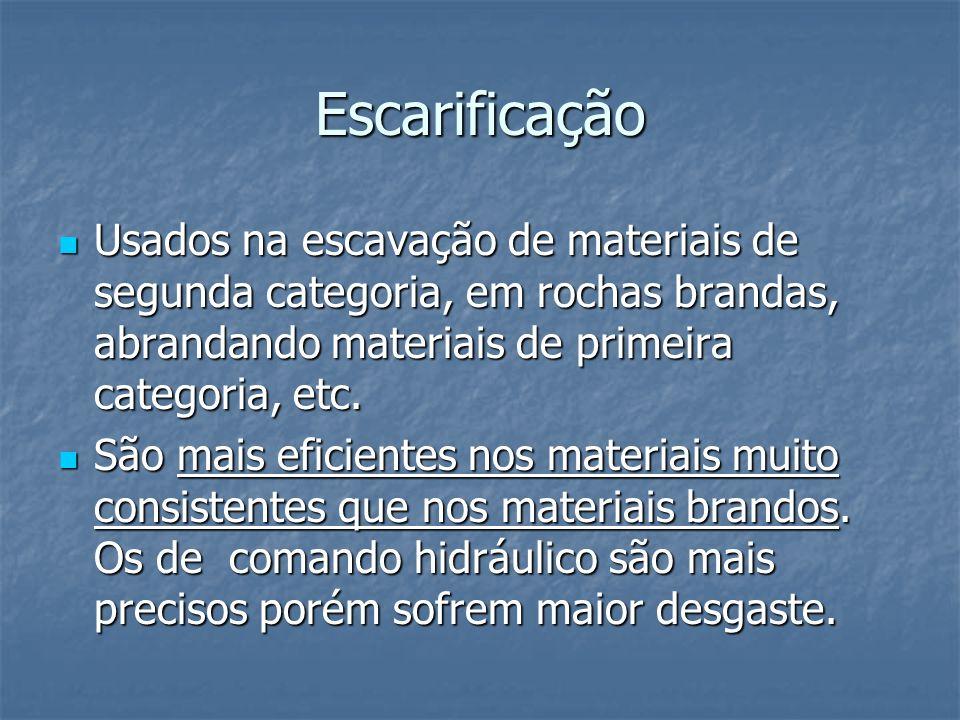 Escarificação Usados na escavação de materiais de segunda categoria, em rochas brandas, abrandando materiais de primeira categoria, etc. Usados na esc
