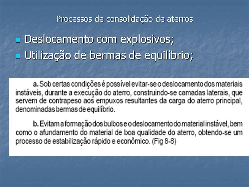 Processos de consolidação de aterros Deslocamento com explosivos; Deslocamento com explosivos; Utilização de bermas de equilíbrio; Utilização de berma