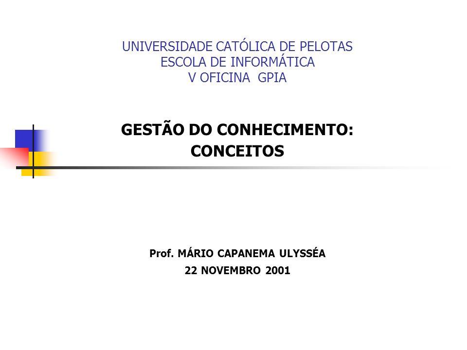 UNIVERSIDADE CATÓLICA DE PELOTAS ESCOLA DE INFORMÁTICA V OFICINA GPIA GESTÃO DO CONHECIMENTO: CONCEITOS Prof. MÁRIO CAPANEMA ULYSSÉA 22 NOVEMBRO 2001