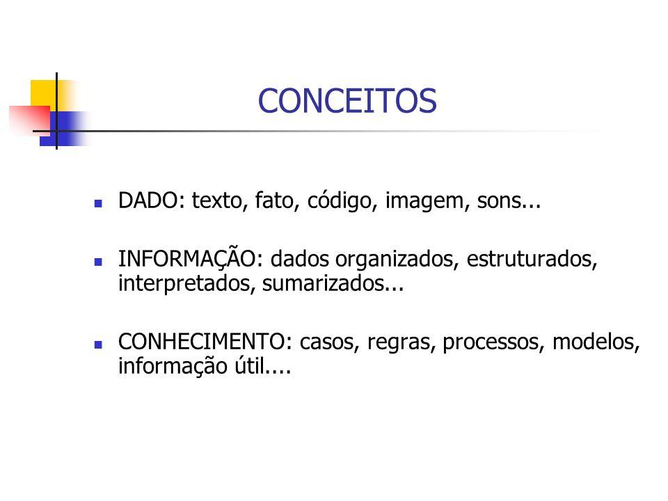 CONCEITOS DADO: texto, fato, código, imagem, sons... INFORMAÇÃO: dados organizados, estruturados, interpretados, sumarizados... CONHECIMENTO: casos, r