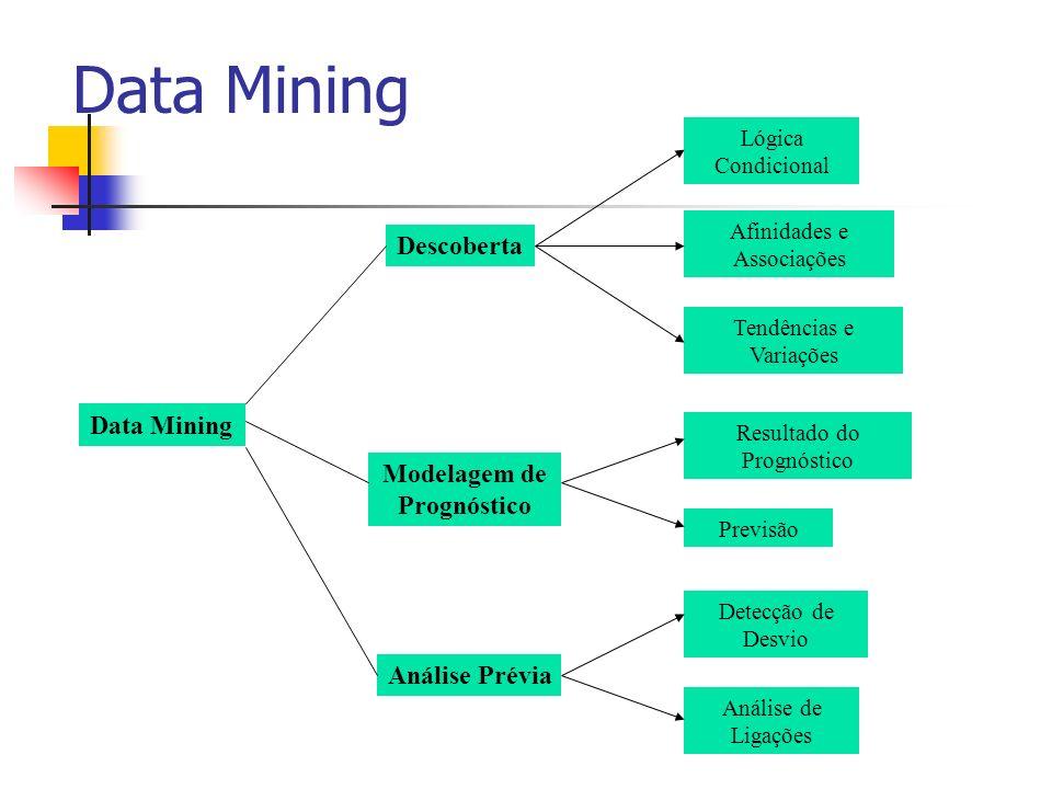 Data Mining Descoberta Modelagem de Prognóstico Análise Prévia Lógica Condicional Afinidades e Associações Tendências e Variações Resultado do Prognós