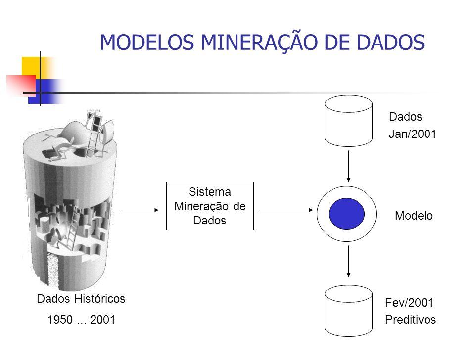 MODELOS MINERAÇÃO DE DADOS Sistema Mineração de Dados Fev/2001 Preditivos Modelo Dados Jan/2001 Dados Históricos 1950... 2001