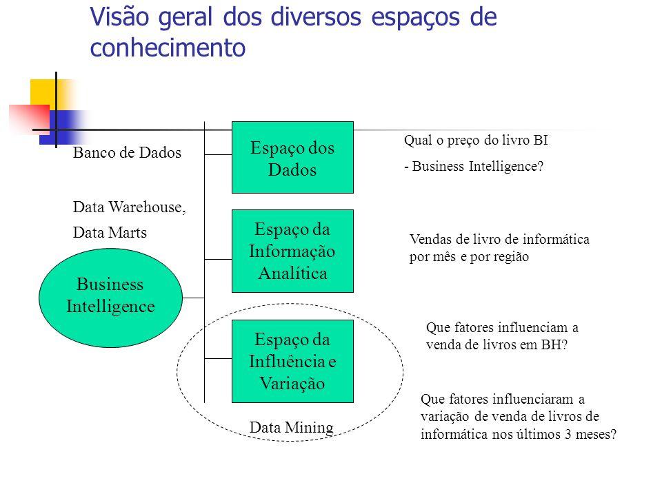 Visão geral dos diversos espaços de conhecimento Espaço dos Dados Espaço da Informação Analítica Espaço da Influência e Variação Business Intelligence